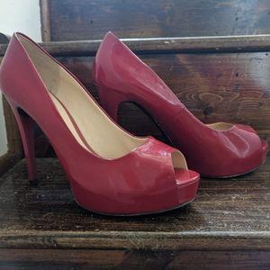 Guess Red Patent Platform Heels